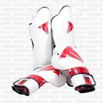 Throwdown Pack Guantes & Espinilleras Carbonian Blanco-Rojo