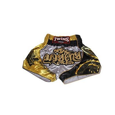 Twins Special TTBL 74 Fancy Muay Thai Shorts Grigio-Oro