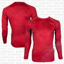 Under Armour HeatGear Armour Printed L/S Compression Shirt Red