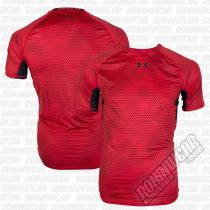 Under Armour HeatGear Armour Printed S/S Compression Shirt Red