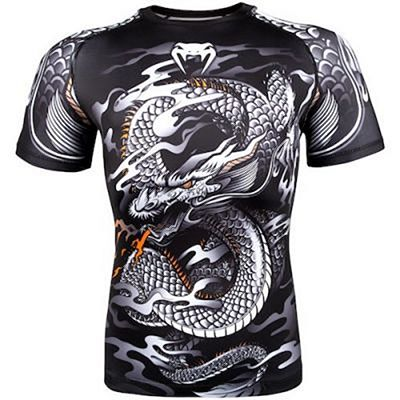 Venum Dragons Flight Rashguard-short Sleeves Preto-Branco
