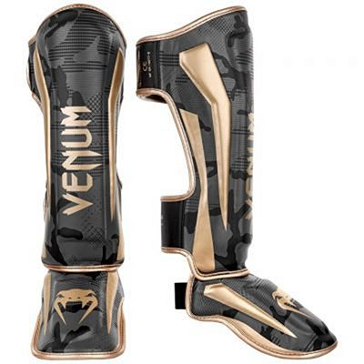 Venum Elite Shin Guards Grey-Gold