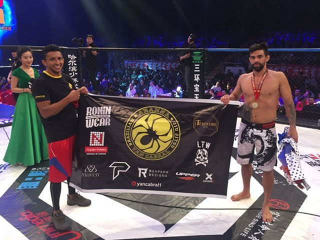 Yan Cabral gets a victory in his MMA fight at WKG China