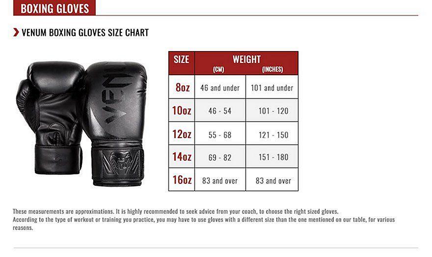 Boxing glove sizes everlast